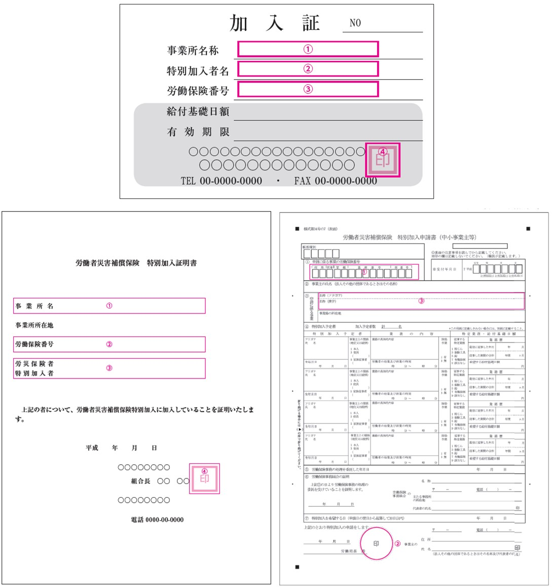 労災特別加入証明書類